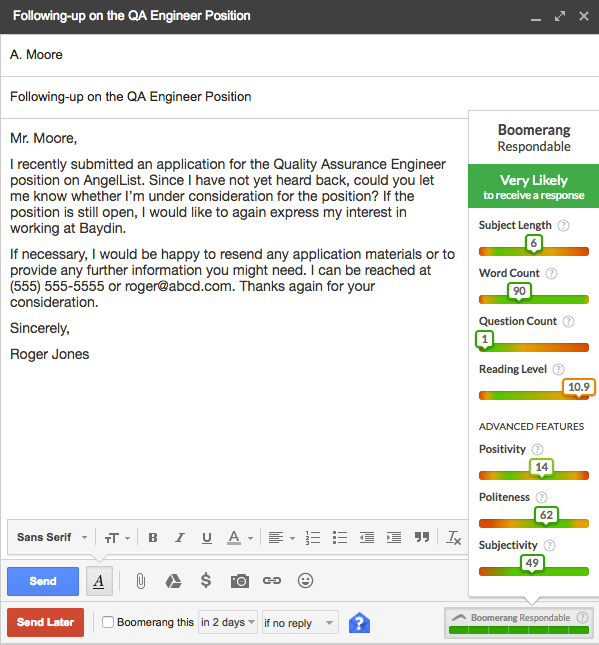 Follow Up Letter To Recruiter from www.boomeranggmail.com